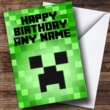 Minecraft Creeper Customised Birthday Card