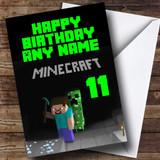 Minecraft Black Customised Birthday Card