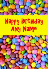 Smarties Sweets Customised Birthday Card