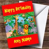 Jungle Animals Customised Birthday Card