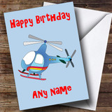 Blue Helicopter Customised Birthday Card