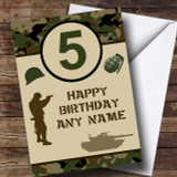 Army Age Green Camo Children's Birthday Customised Card