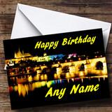 Prague At Night Customised Birthday Card
