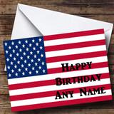 American Flag Usa Customised Birthday Card