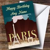 Paris France Eiffel Tower Customised Birthday Card