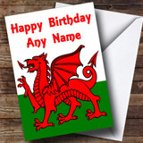Welsh Flag Wales Customised Birthday Card