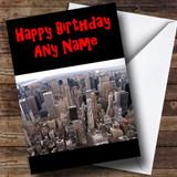 Usa New York America Skyline Customised Birthday Card