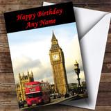 London Big Ben Red Bus Customised Birthday Card