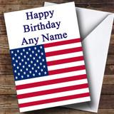 Usa American Flag Customised Birthday Card
