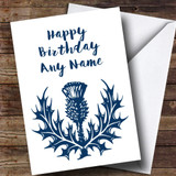 Blue & White Scottish Thistle Customised Birthday Card