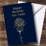 Gold Scottish Thistle Customised Birthday Card