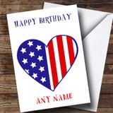 USA Flag Heart Customised Birthday Card