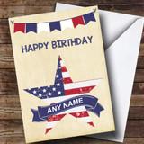 USA Flag Star Customised Birthday Card