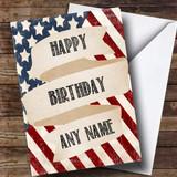 USA Vintage Flag Customised Birthday Card