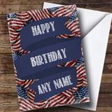 Vintage Stars & Stripes Customised Birthday Card