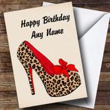 Leopard Print Stiletto Customised Birthday Card