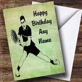 Green Tennis Player Fan Customised Birthday Card