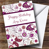Beautiful White Vintage Butterfly Deco Customised Birthday Card
