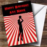 Red Stripy Basketball Customised Birthday Card