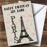 Paris Eiffel Tower Shabby Chic Customised Birthday Card