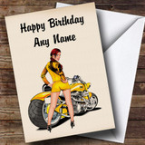 Motorbike And Sexy Lady Yellow Customised Birthday Card