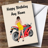 Motorbike And Sexy Lady Customised Birthday Card