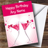 Pink Cocktails Customised Birthday Card