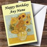 Van Gogh Sunflowers Customised Birthday Card