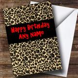 Leopard Print Animal Customised Birthday Card