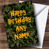 Camouflage Army Soldier Customised Birthday Card