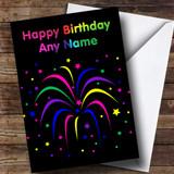 Rainbow Fireworks Customised Birthday Card