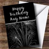 Silver Fireworks Customised Birthday Card