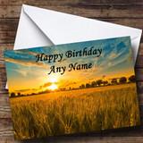 Sunset Over Cornfield Customised Birthday Card
