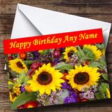 Sunflowers Customised Birthday Card