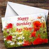 Poppy Flowers Customised Birthday Card
