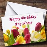 Tulip Flowers Customised Birthday Card
