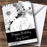 Black & White Vintage Roses Customised Birthday Card