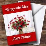 Red Roses Display Customised Birthday Card