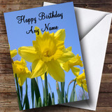 Daffodils And Sky Customised Birthday Card