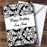 Floral Black White Damask Customised Birthday Card