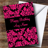 Floral Black Pink Damask Customised Birthday Card