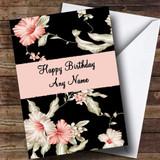 Stunning Black Vintage Floral Customised Birthday Card