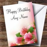 Beautiful Soft Pink Pastel Roses Customised Birthday Card