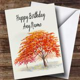 Autumn Fall Tree Customised Birthday Card