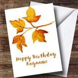 Golden Leaves Customised Birthday Card