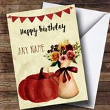 Pumpkin & Flowers Customised Birthday Card