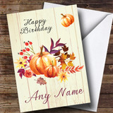 Pumpkin Floral Wood Customised Birthday Card