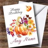 Pumpkin Floral Customised Birthday Card