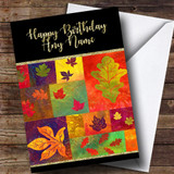 Quilted Fall Leaves Golden Customised Birthday Card