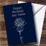 Silver Scottish Thistle Customised Birthday Card